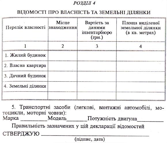 Зразок декларації (продовження-відомості про власність та земельні ділянки)